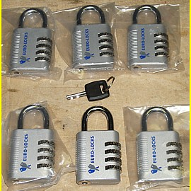 6 Zahlenschlösser mit Notschlüssel Euro-Locks - Breite 42 mm Bügel 6,4 mm