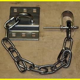 Sicherheitskette - Anhängekette für Vorhangschloss mit Öse und Wandhalterung - Bild vergrößern