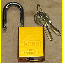 Aluminium - Vorhängeschloss eloxiert gold - Breite 38 mm - Bügel 6,3 mm